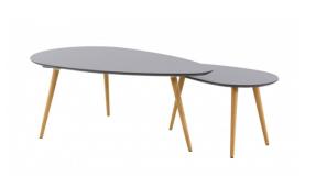 Tables basses gigognes chêne et laqué gris Scandie de chez Mooviin